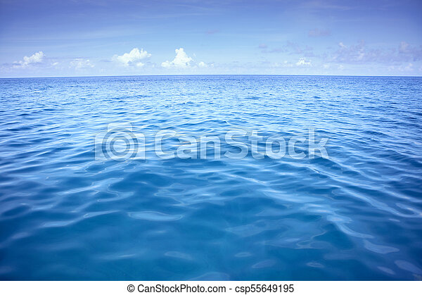 deep blue sea water with white cloud over sky - csp55649195