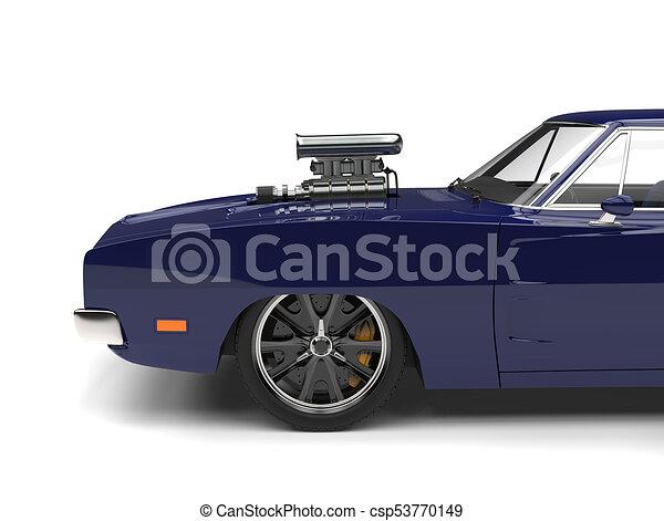 Deep Blue Vintage American Muscle Car Side View Cut Shot