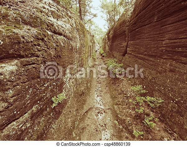 Deep entrance path in sandstone block. Historical path through forest - csp48860139