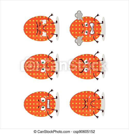Deep orange easter egg cartoon character with various angry expressions - csp90605152