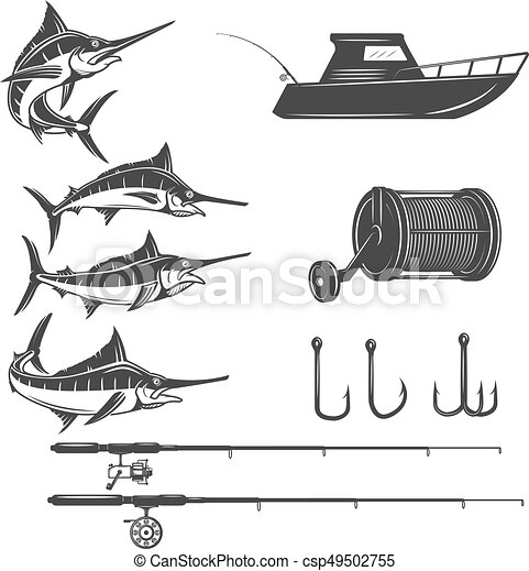 Deep sea design elements isolated on white background. Sword fish icons. Images for logo, label, emblem, sign, menu. Vector illustration. - csp49502755