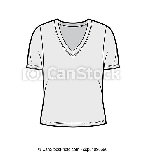 Deep V Neck Jersey T Shirt Technical Fashion Illustration With Short Sleeves Oversized Body Flat Top Apparel Template Front Canstock