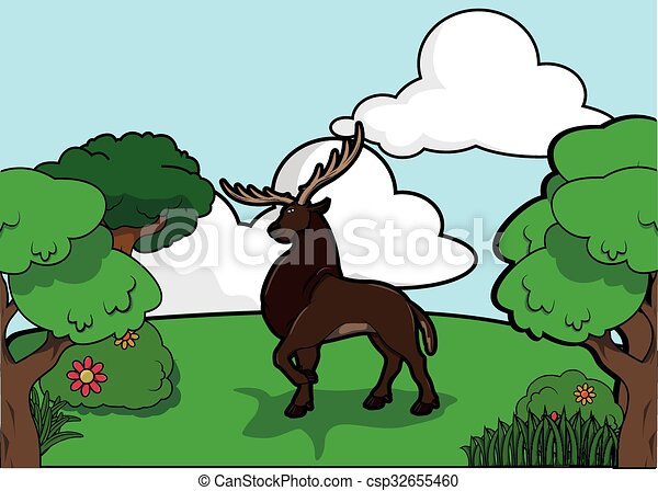 Deer and Forest scenery - csp32655460