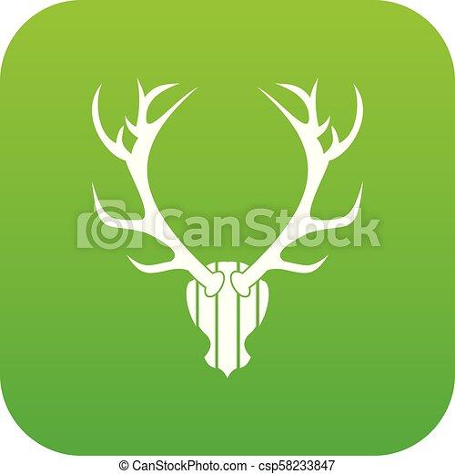 Deer antler icon digital green - csp58233847