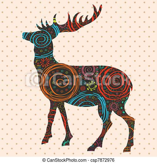 Deer Christmas vector background - csp7872976