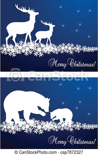 Deer Christmas vector background - csp7872327