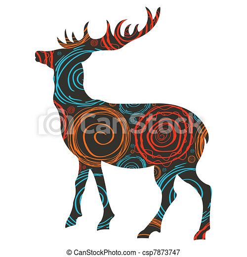 Deer Christmas vector background - csp7873747
