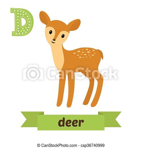 deer d letter cute children animal alphabet in vector funny