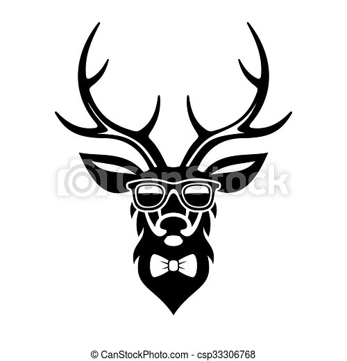 deer dressed up in hipster style simple logo design vector