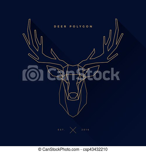 Deer Frame Invert Navy Logo Of Deer Frame Head Polygon Invert Illustration Canstock