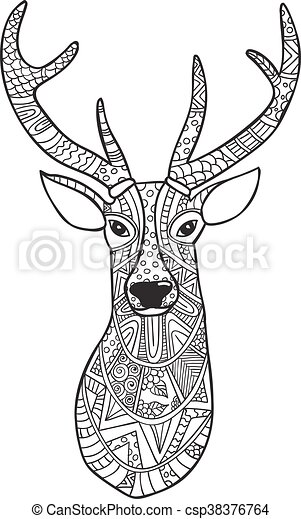 Hand Drawn Reindeer With Ethnic Doodle Pattern Coloring Page
