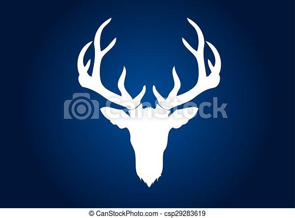 Deer head, big horn deer - csp29283619