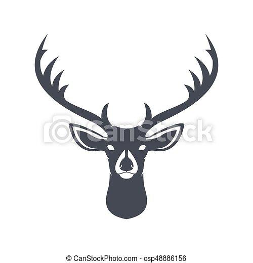deer head dark blue silhouette vector illustration rh canstockphoto com buck deer head clipart deer head clipart free