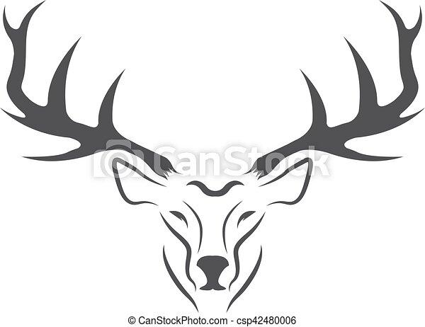 Deer head vector design template,hunting illustration.