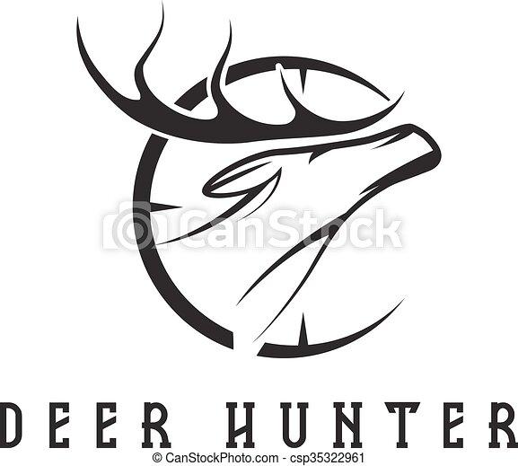 Deer head with target vector design template clip art vector ...