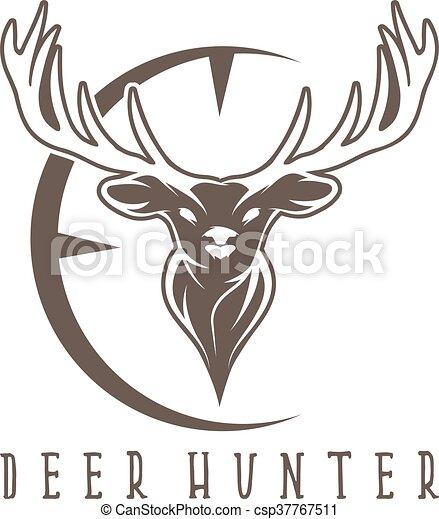 Deer head with target vector design template.