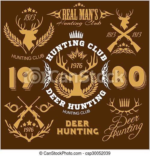Deer hunting. Set of badges labels logo design elements. - csp30052039