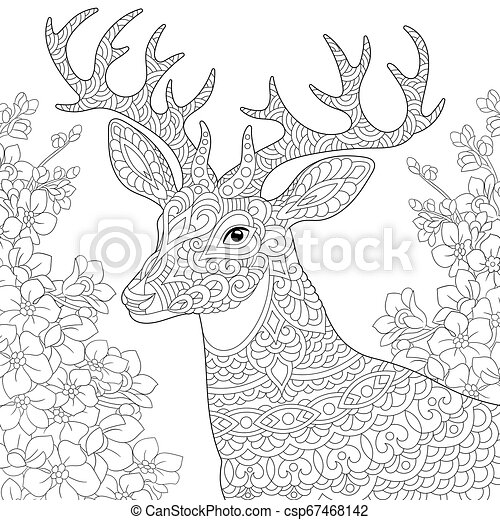 Deer In Flower Garden Coloring Page. Coloring Book Page. Anti Stress  Colouring Picture With Deer And Spring Flowers Of CanStock
