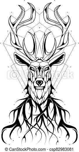 Deer modern tattoo design - csp82983081