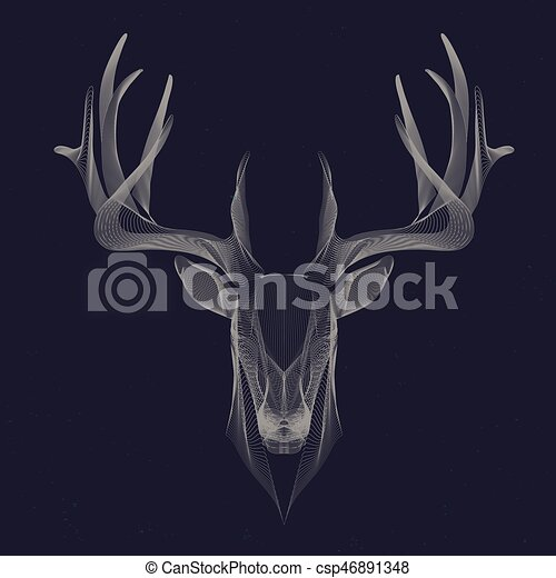 Deer Particle Invert Futuristic Illustration Of Deer Wire Frame Invert Canstock