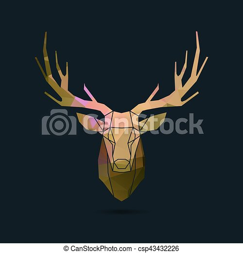 Deer Portrait Invert Frame Color Poly Deer Frame Head Polygon Invert Portrait Illustration Canstock