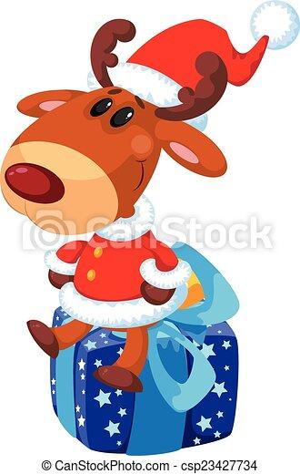 deer Santa on the box - csp23427734