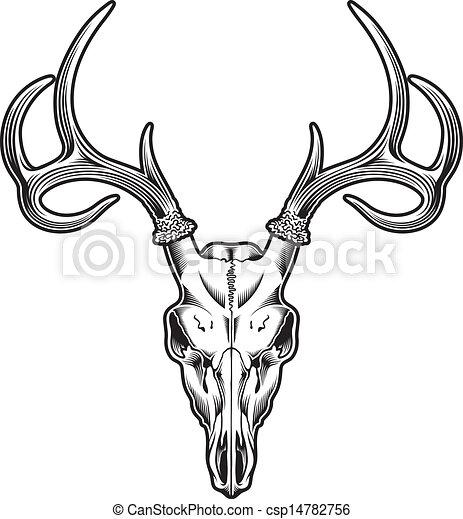 Deer Skull Vector Editable Illustration Of
