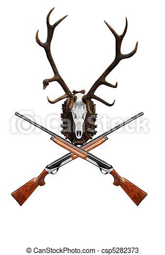 deer skull with big horn - csp5282373