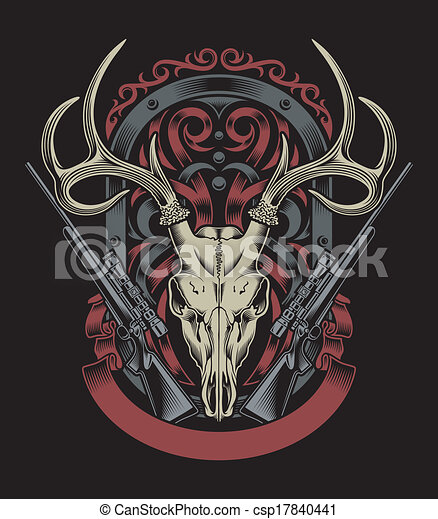 Deer Skull With Rifle - csp17840441