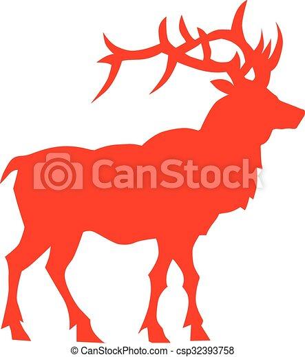 Deer vector silhouette - csp32393758