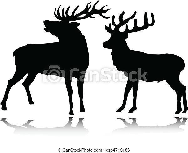 deer vector silhouettes - csp4713186