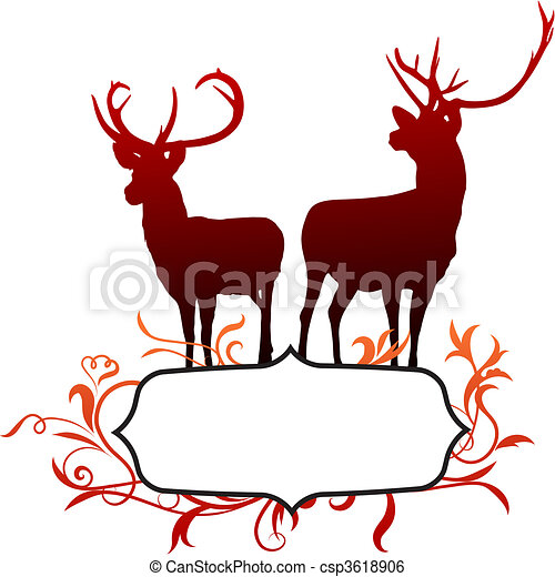 Deer with abstract frame background