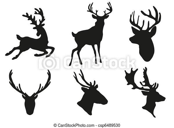deers, silhuetas - csp6489530