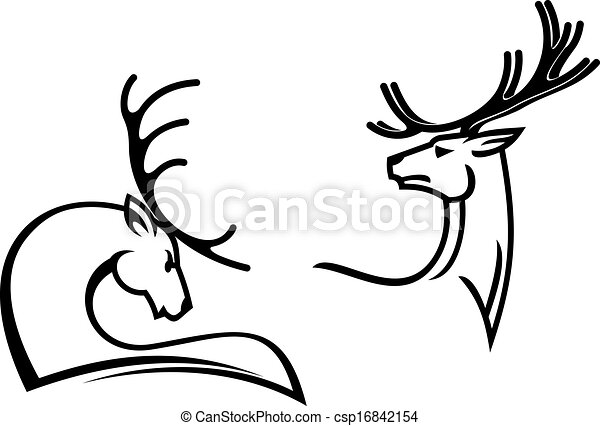 Deers With Big Antlers For Tattoo Mascot Or Hunting Symbols Design