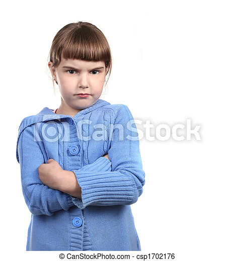 Defiant Young Child With Arms Crossed - csp1702176