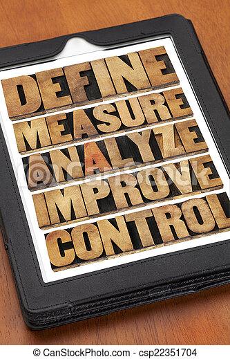 definiëren, analyseren, controle, verbeteren, maatregel - csp22351704