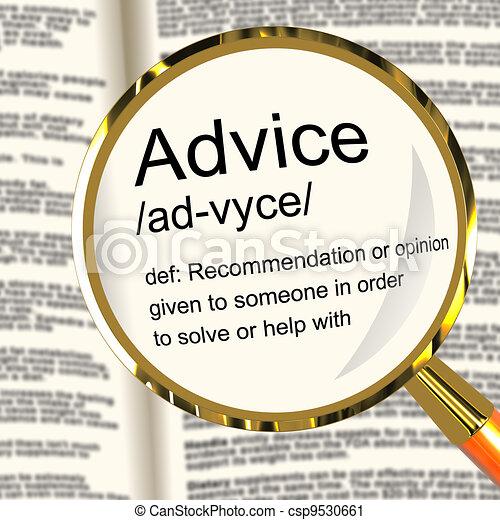 definitie, helpen, steun, aanbeveling, vergrootglas, raad, optredens - csp9530661
