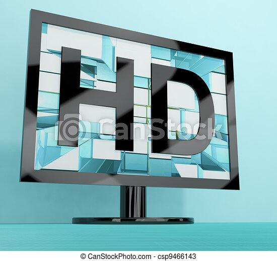 definizione, monitor televisione, tv, alto, rappresentare, o, hd - csp9466143