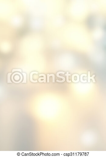 Defocused Bokeh twinkling lights - Glitter Abstract circular bokeh background of Christmas light. Golden, silver and white Vintage background. - csp31179787
