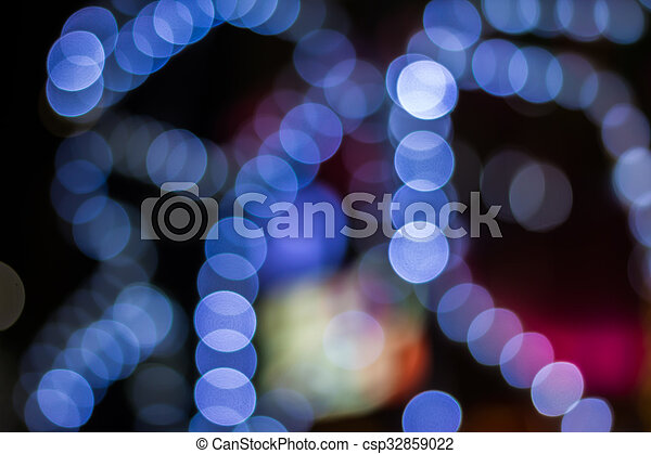 Defocused ligths of golden Christmas tree - csp32859022