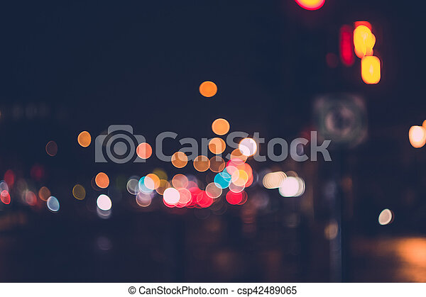 Defocused Night Light in City Background - csp42489065