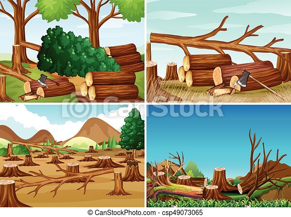 Deforestation scenes with chopped woods illustration clip ...