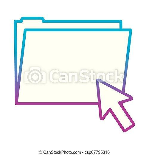 degraded line folder file with arrow cursor mouse - csp67735316