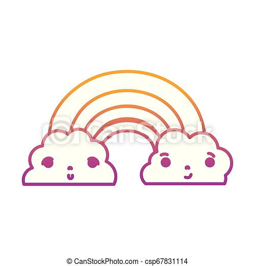 degraded line kawaii cute rainbow and clouds weather - csp67831114