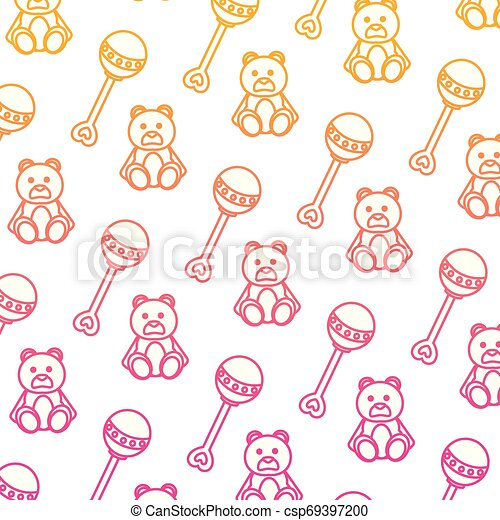 degraded line rattle and teddy bear toys background - csp69397200