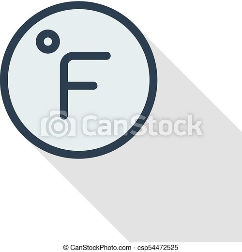 Degree Fahrenheit Thin Line Flat Color Icon Linear Vector Vector