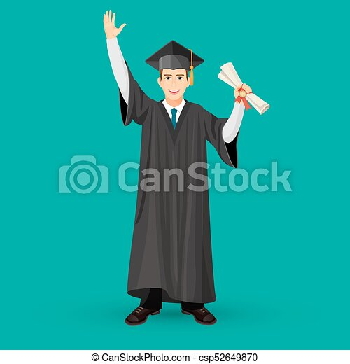 Degree Graduate Student In Mantle Gown Holds Graduation Scroll