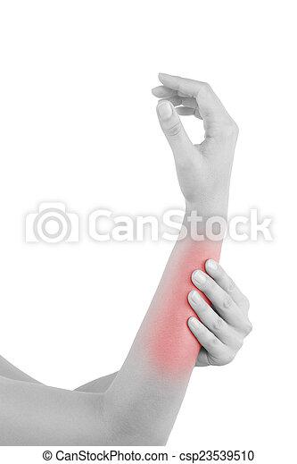 Dehnung, muskel, unterarm. Schmerz, bereich, unterarm, strain ...