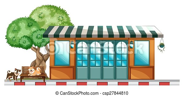 dehors, chiens, restaurant - csp27844810