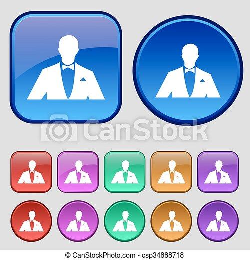 Silhouette des Mannes in Business Anzug Symbol. 12 Vintage-Tasten für Ihr Design. Vector - csp34888718
